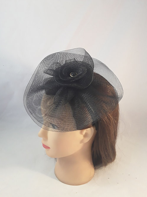 CassyD Black  Sinamay Fascinator