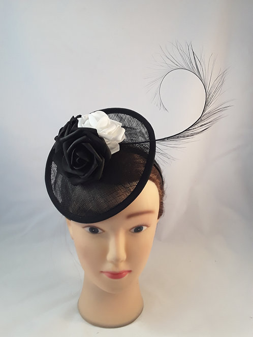 CassyD  Black & White Rose Fascinator