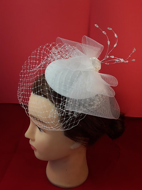 CassyD  Bridal Fascinator Sinamay Bow and Birdcage Veil