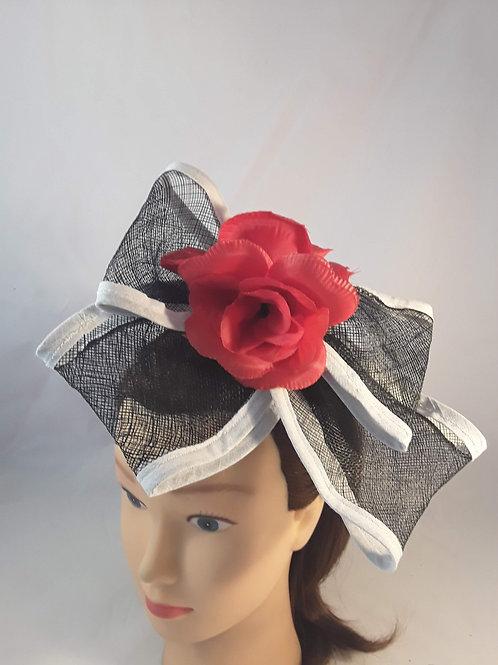 CassyD Black & White Red Flower Fascinator