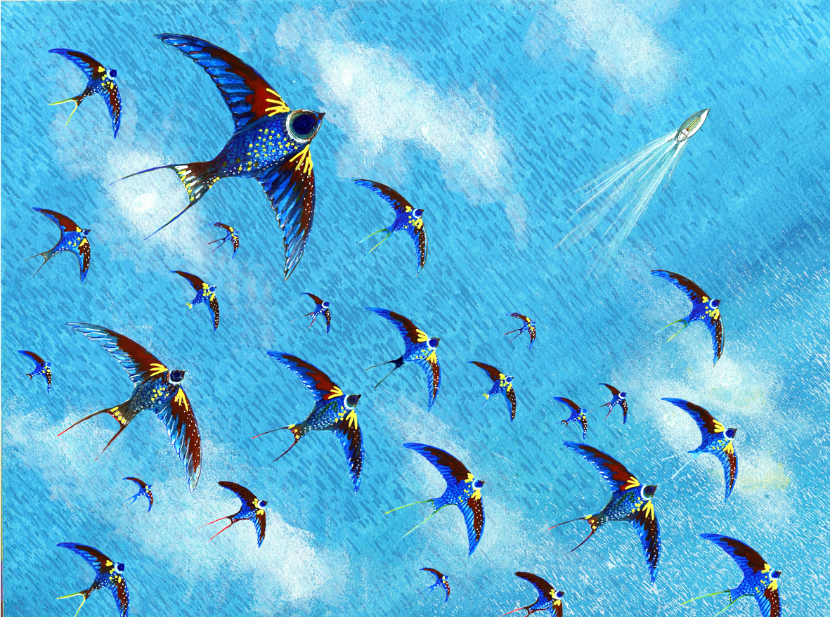sea with birds