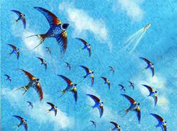 sea with birds