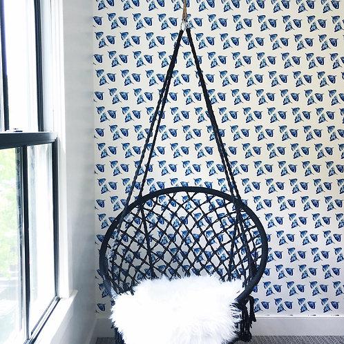Ginkgo Love Wallpaper in Indigo - Sample