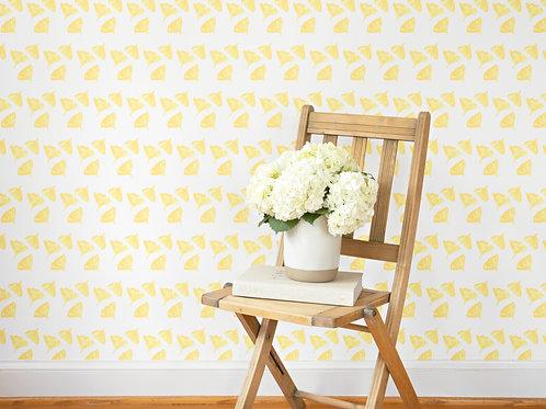 Gingko Love Wallpaper in Yellow - Sample