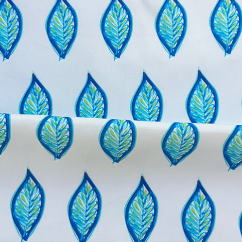 Leaves in Indigo on Grey Fabric Swatch