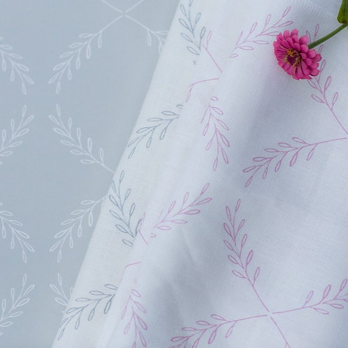 Olive Branch in Pink - on Oyster Linen