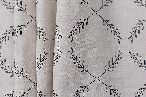 Olive Branch - Black on Natural Linen