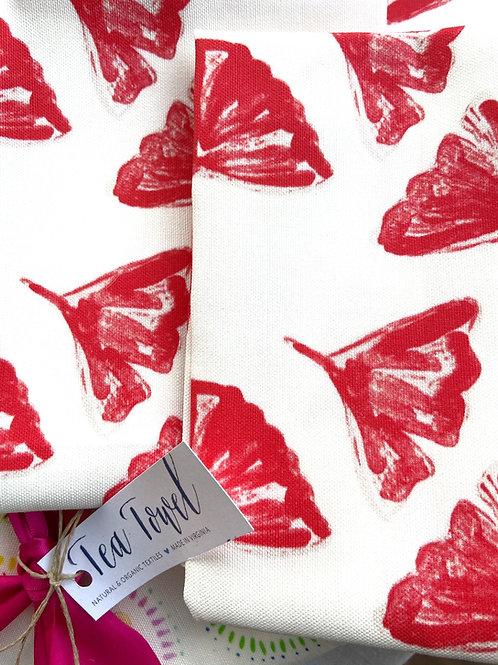 Red Ginkgos Tea Towel