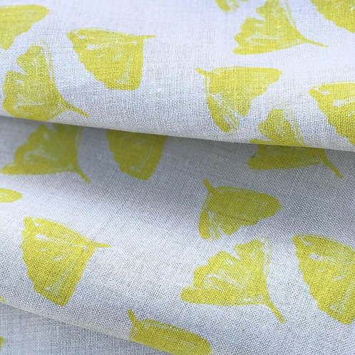 Ginkgo Love in Yellow on Natural Linen - Fabric Swatch
