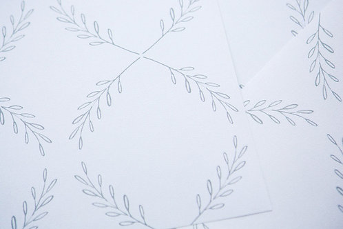 Olive Branch in Grey - on White