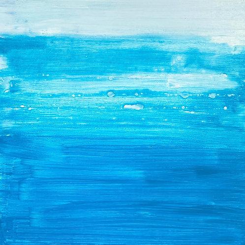 True Blue Painting on wood block