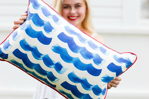 Navy Waves Decorative Pillow
