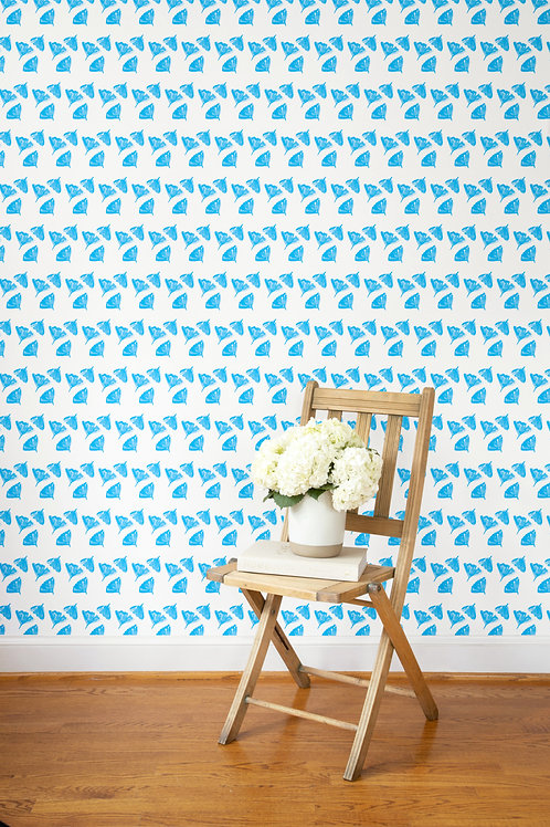 Ginkgo Love Wallpaper in Cornflower Blue