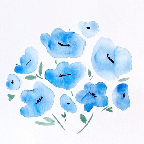 Mini Paintings: Blue Poppies