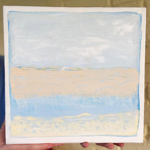 Morning Dunes Painting on wood block