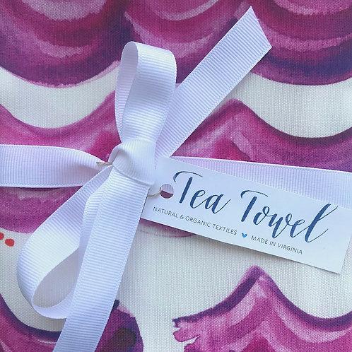 Radiant Orchid Waves Tea Towel