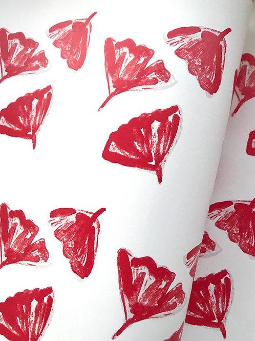 Ginkgo Love Wallpaper in Red - Sample