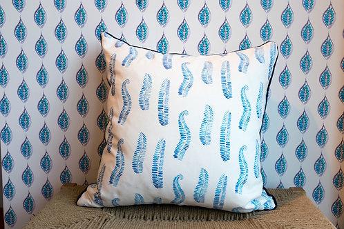 Blue Ferns on Grey Fabric Swatch