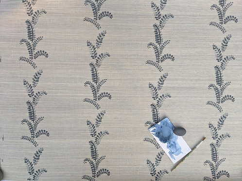 Grasscloth: Denim Vines
