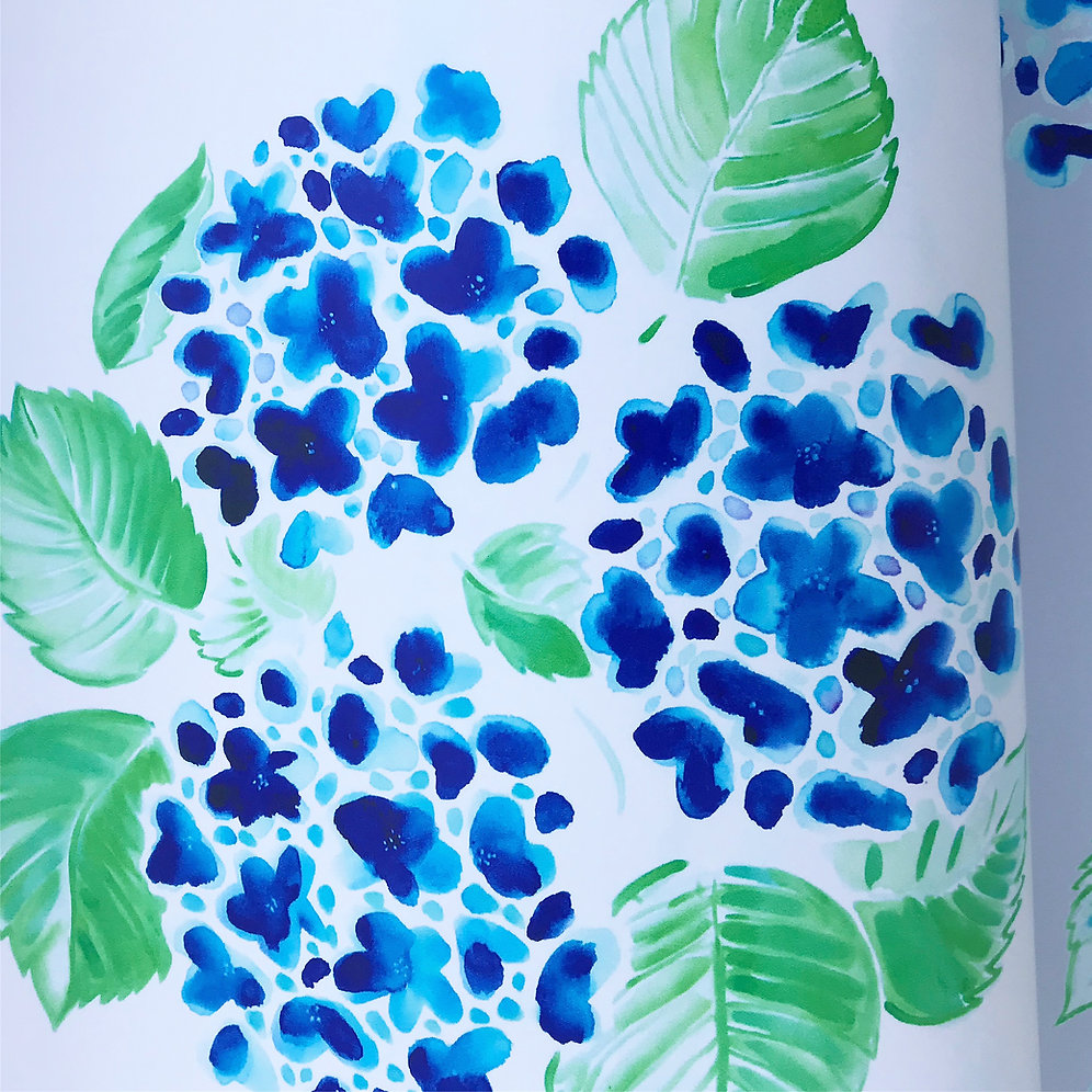 New, watercolored hydrangeas wallpaper now available. Standard rolls are 2' wide x 12' in length.