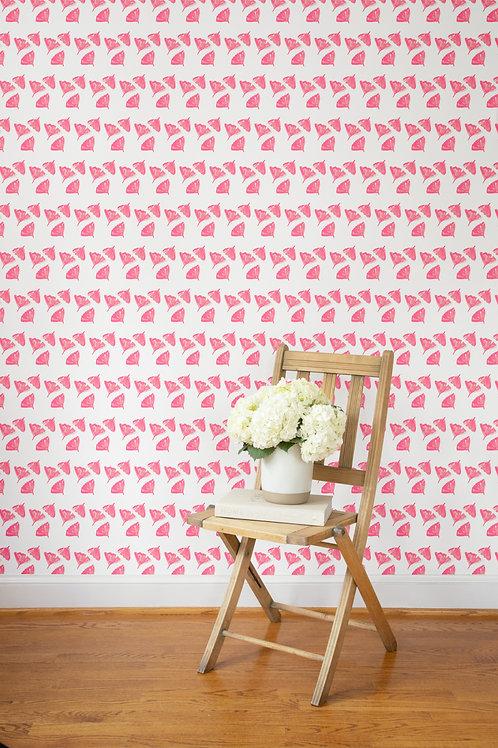Ginkgo Love Wallpaper in Pink - Sample