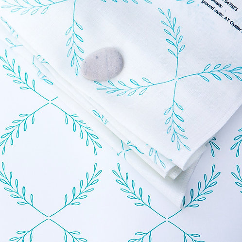 Olive Branch in Turquoise - on Oyster Linen