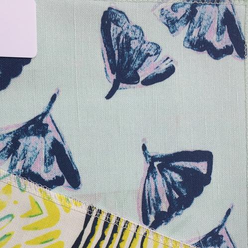 Ginkgo Love, Indigo on Aqua Fabric Swatch