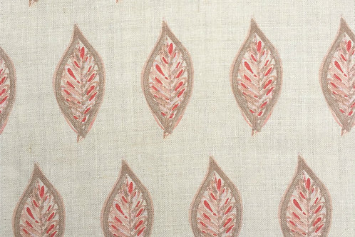 Leaves in Terra Cotta on Natural Linen - Fabric Swatch
