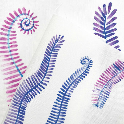 Purple Ferns Fabric Swatch