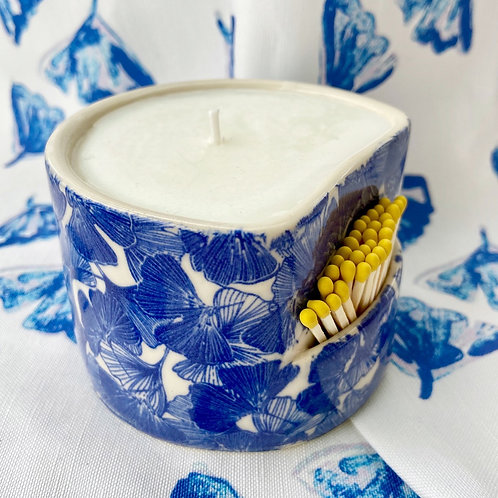 Ceramic Candleholder in Ginkgo Love Indigo