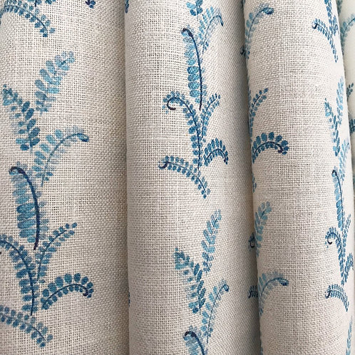 Denim Vines on Natural Linen Swatch