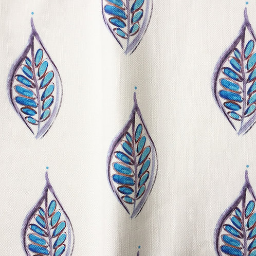 Tunisia Leaves in Blue Fabric Swatch