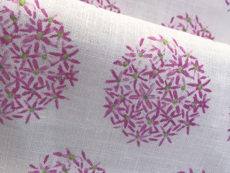 New for Spring! Handpainted Allium Love Textile Design on Oyster Linen