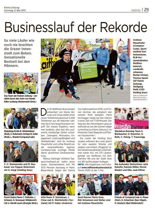 Nachbericht Raiffeisen Businesslauf der Kleinen Zeitung und UNIQA