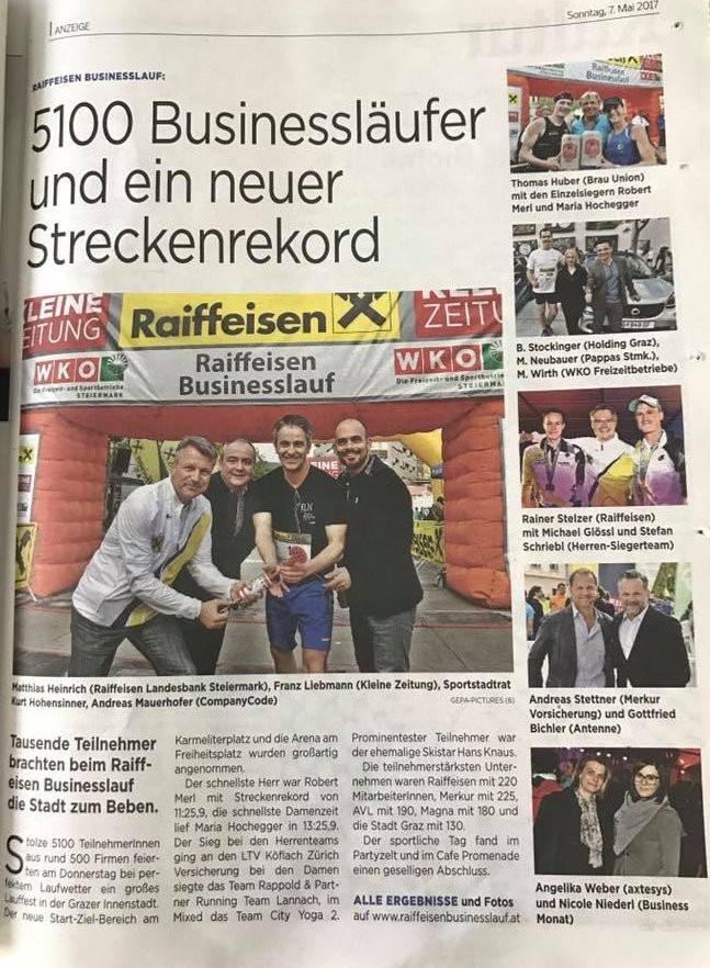 Die Eventagentur organisiert den Raiffeisen Businesslauf in Graz mit über 5200 Teilnehmer von 500 Firmen. Companycode ist die Eventagentur in Graz.