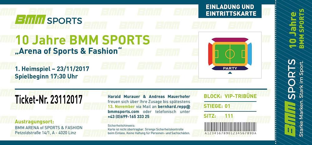 Die Grazer Eventagentur CompanyCode organisiert das Jubiläum von BMMsports und designte die Einladung im Stil einer Eintrittskarte in ein Sportstadion.
