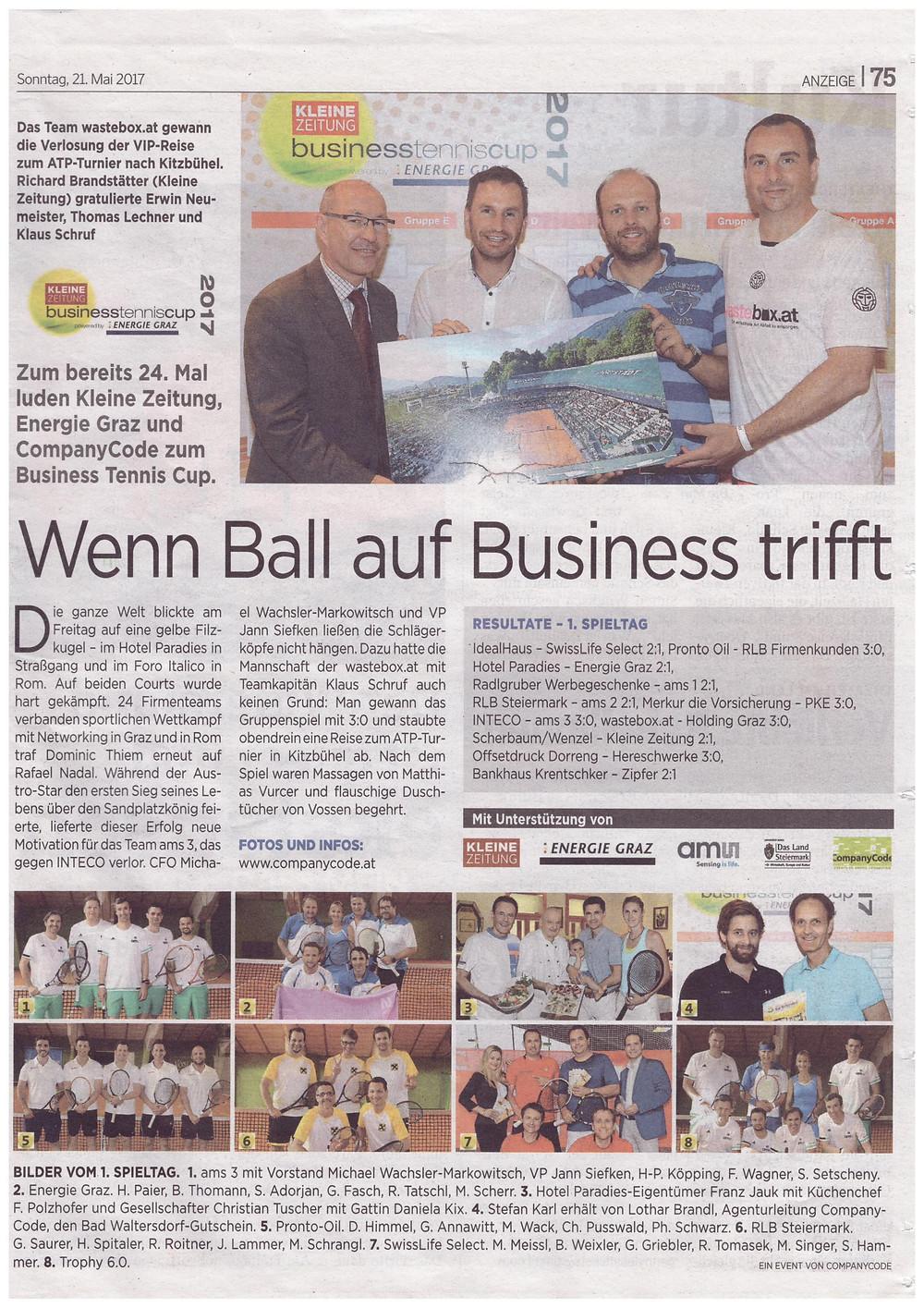 Die Grazer Eventagnetur Companycode organisiert den Kleine Zeitung Business Tennis Cup 2017. In der ersten Spielrunde trafen die Mannschaften aufeinander.