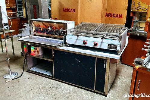 Horizontal Kebab and Gas & Lava Stone Grill Kebab Machine