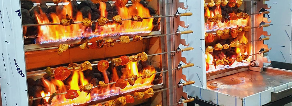 Shaslik Kebab Machine Automatic Gas and Lava Stone Or Charcoal and Gas