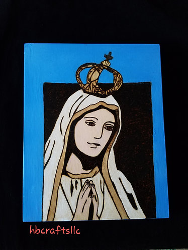 Our Lady of Fatima Pyrography Mixed Media Artwork 8 x 10 in.