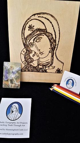 Catholic Pyrography Art Kit (Our Lady of Vladimir)