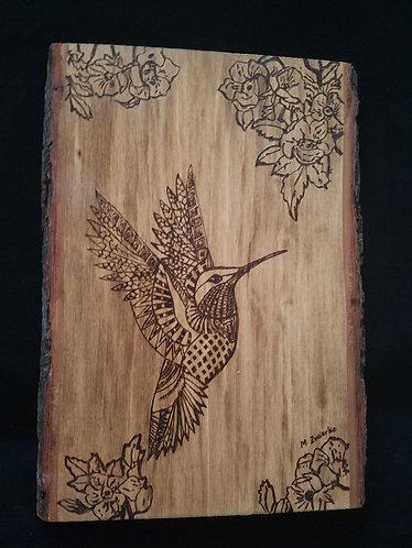 "Pyrography Artwork ""Flight of the Hummingbird"""