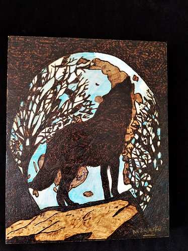 """Pyrography Artwork """"Howling Wolf"""" 8 x 10 in."""
