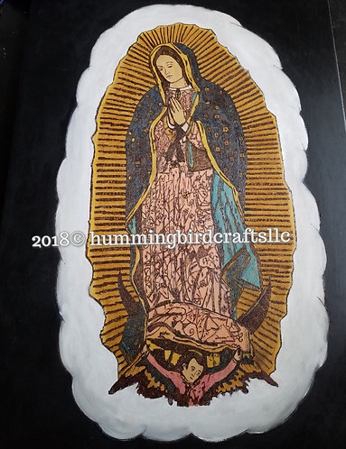 "Pyrography on Wood Artwork 36 in. x 24 in. ""Mother of Guadalupe"""