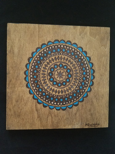 "Pyrography Pattern Wall Art ""Boho Round"""