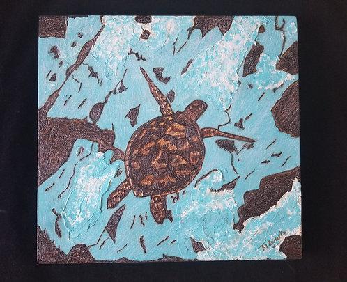 Sea Turtle Pyrography Artwork 12 x 11 in.
