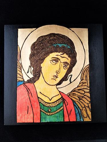 Pyrography Saint Michael Icon Art 10 x 10 in. Wood Panel