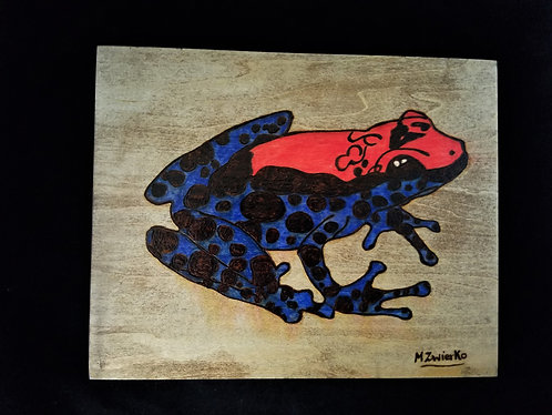 Pyrography Artwork Frog 8 x 10 in.