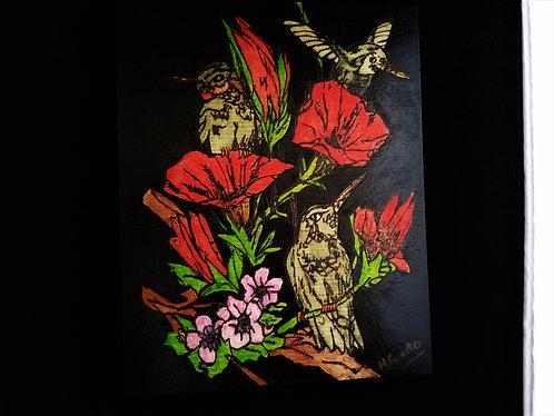 Hummingbird Pyrography Artwork Mixed Media 8 x 10 in.