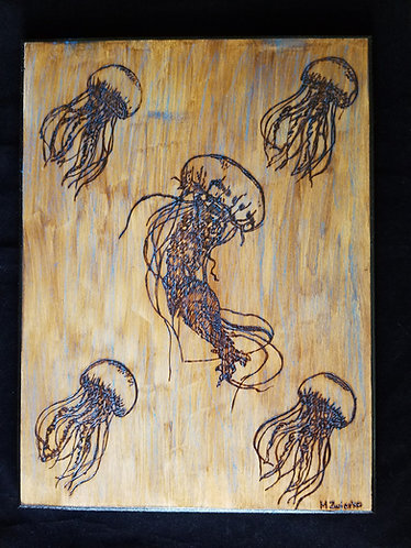 "Original Pyrography Artwork 16x12 in. ""Dance of the Jellyfish"""